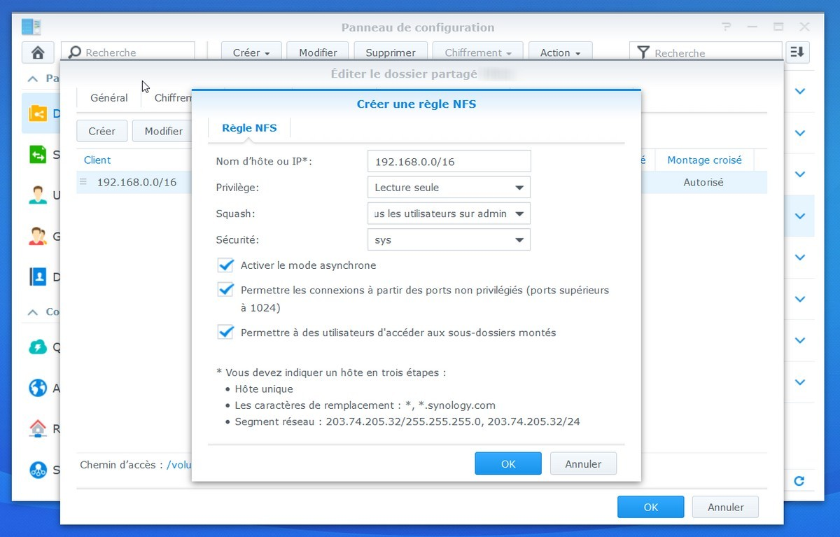 créer partage nfs synology