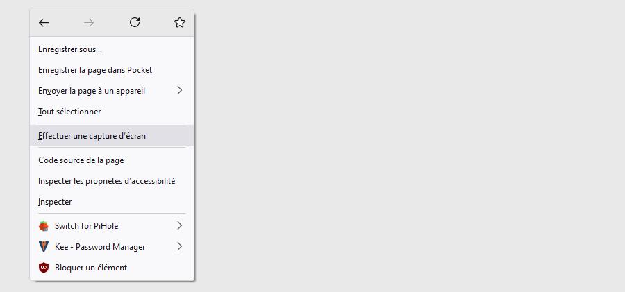 réaliser capture d'écran Firefox: menu contextuel